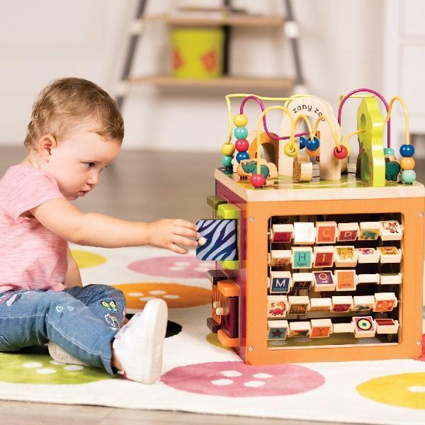 Olbrzymia drewniana kostka edukacyjna - Zany Zoo B.Toys